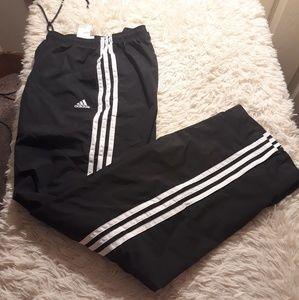 Adidas track pants men L 3 stripes black white